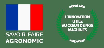 logo drapeau français bleu blanc rouge et logo en forme de cercle avec feuille de laurier et inscription  l'innovation utile au coeur  de nos machines